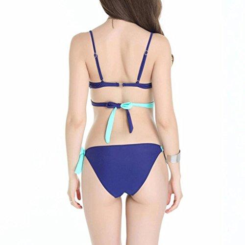 Moda traje de baño de gran tamaño de dos colores de costura Sra. Bikini spa traje de baño Split bikini Azul