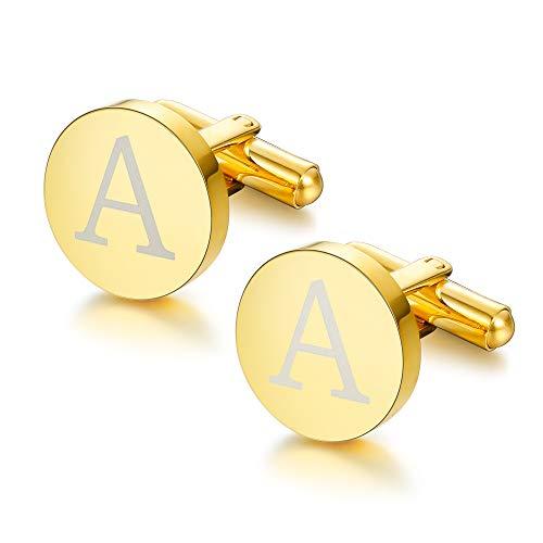 ORAZIO Gold Tone Initial Cufflinks for Men Women Alphabet Letter A Cufflinks ()