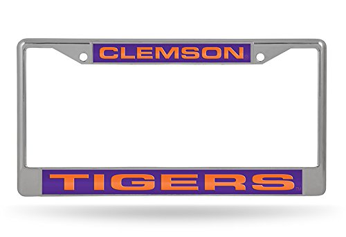 Rico Industries NCAA Clemson Tigers Laser Cut Inlaid Standard License Plate Frame, 6