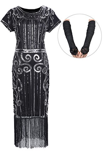 [Womens 1920s Sequins Dress Beading /Cocktail /Flapper Party Dresses with Fringed Hem(M,black-Q4)] (Charleston Costume Women)