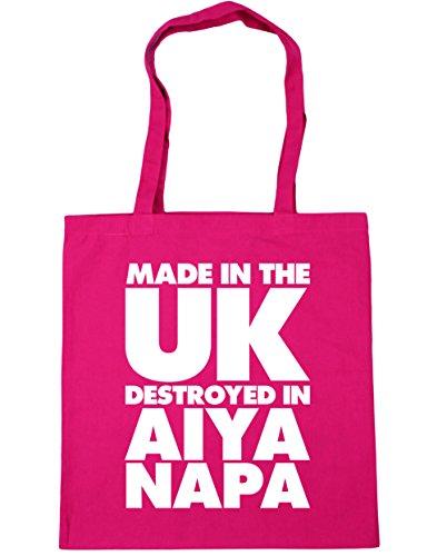 HippoWarehouse fabricado en el Reino Unido destruido en Aiya Napa bolsa de la compra bolsa de playa 42cm x38cm, 10litros fucsia