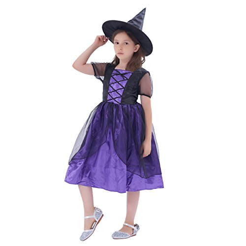 [Girls' Halloween Colourful Magical Witch Costume, 2Pcs (Witch Hat, Witch Dress) (3-4Y)] (Colourful Costumes For Kids)