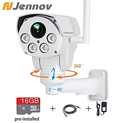 Jennov Full HD 2.0MP 1080P WiFi IP Wireless Security Cameras Outdoor Waterproof CCTV Pan Tilt Zoom PTZ Camera with Built-in 16G Micro SD Card Day Night Vision Mobilephone Remote View by Shenzhen Dianchen Industrial Co.,Ltd