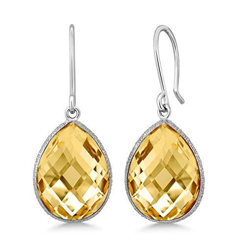 - Gem Stone King 14.00 Ct Citrine Quartz 16x12mm Pear Shape 925 Silver Dangle Earrings