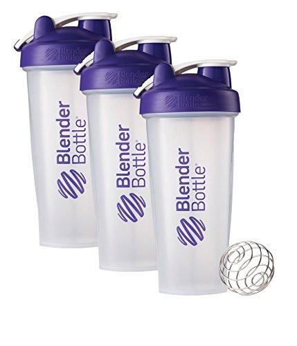 28 Oz. Hook Style Blender Bottle W/ Shaker Bundle-Clear Purple-Pack of 3