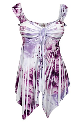 Top Sublimation V-neck - eVogues Plus size Deep V-neck Asymmetric Slimming Sublimation Print Top Violet - 2X
