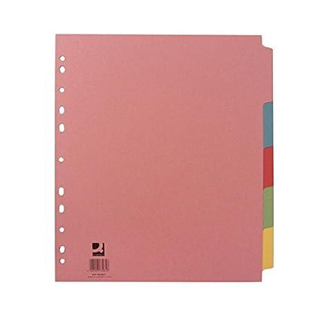 5 separadores de folios para archivador Q-Connect tamaño A4: Amazon.es: Oficina y papelería