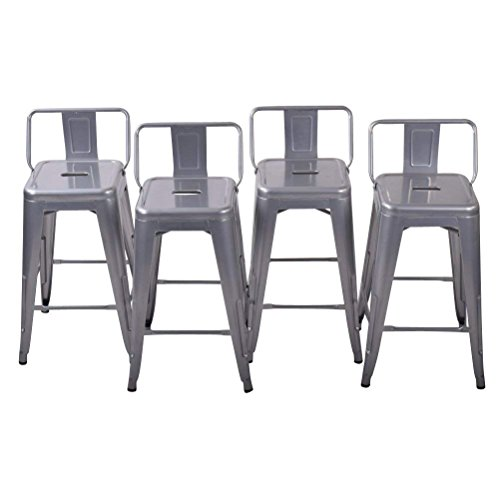 26 inch Metal Barstools Set of 4 Indoor Outdoor with Low Back Counter Height Stool Kitchen Dining Side Bar Chairs Silver
