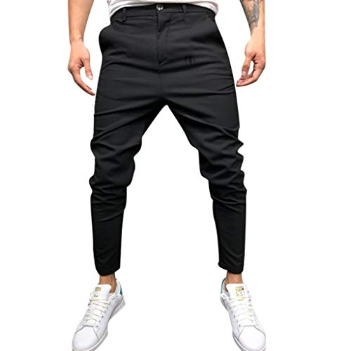 WUAI-Men Casual Stretch Dress Pants Slim Fit Track Pants Skinny Suit Pants(Black,XX-Large)