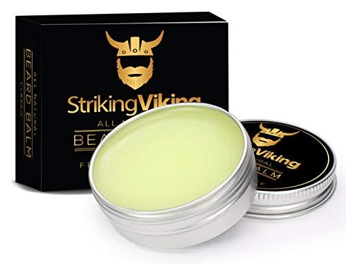 Striking Viking Beard Balm - Mens Beard Styling Wax & Shaping Aid - Medium Hold Beard Thickener Moisturizes & Conditions with Unscented Organic Jojoba Oil, Argan and Shea Butter - Made in USA