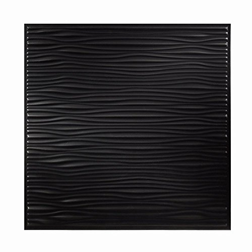 Genesis Easy Installation Drifts Lay-In Black Ceiling Tile / Ceiling Panel, Carton of 12 (2' x 2' Panel) by Genesis