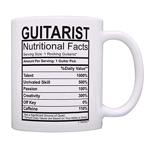 - Music Lovers Gifts Guitarist Nutritional Facts Mug Guitar Mug Music Themed Gift Music Related Gifts Rock Gifts for Men Coffee Mug Tea Cup White