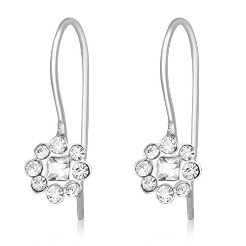 Sterling Silver & Crystal Floral Flower Design Rhodium Plated Drop Dangle Earrings