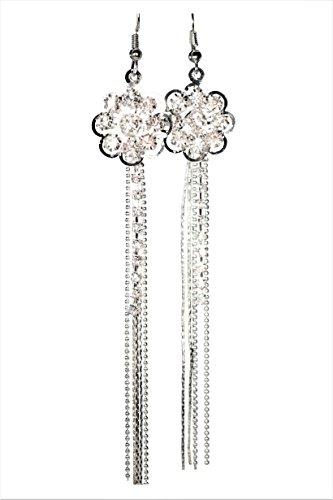 Silver Rhinestone Flower Drop Dangle Shoulder Duster Long Earrings