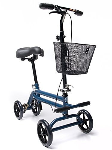 Evolution Steerable Seated Scooter Mobility Knee Walker Turning Leg Walker Crutches Alternative in Blue from KneeRover