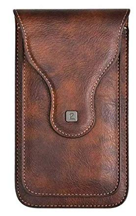 YAAMYA Multi Function Leather Mobile Phone Waist Bag Holster Belt Clip Case with 2 Pocket for 6.5 inch Mobile and Card Holder - Brown