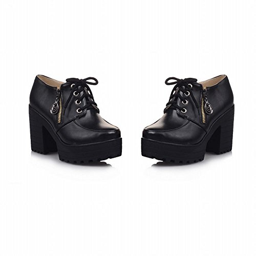Chunky Fashion Zipper Lace up Ankle Black Carol Shoes High Heel Comfort Boots Platform Women's pHxnRq8