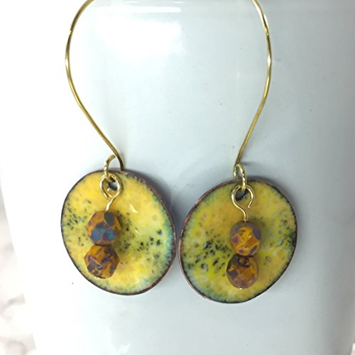 Yellow and Black Enameled Disk Beaded Hooped Brass (Tone Beaded Disc)