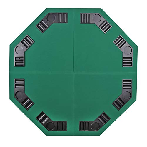 (JupiterForce Combination Folding Poker Table Top Texas/Blackjack/Poker Casino Layout Cover Card Travel Set with Cup Holder and Chip Rack,Green,Octagon,for Eight People)