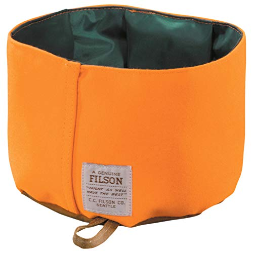 - Filson Water-repellant Nylon Dog Bowl (Tan/Blaze Orange) 90105