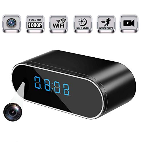 Spy Camera WiFi Hidden Camera,LFHIN Mini Clock 1080P Hidden Cameras Wireless IP Surveillance Camera for 145?Angle Night Vision Motion Detection for Protection and Surveillance of Your Home and Office