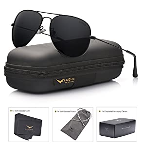 LUENX Men Aviator Sunglasses Polarized - UV 400 Protection with case 60MM Classic Style
