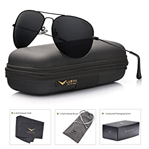 LUENX Aviator Sunglasses Polarized Mens Womens Black Lens Black Metal Frame 60mm