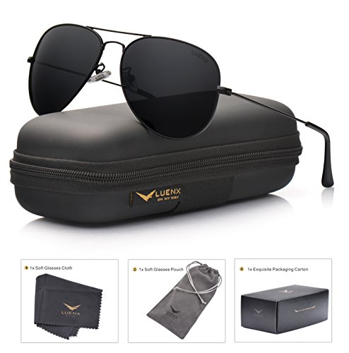LUENX Aviator Sunglasses Polarized Mens Womens Black Lens Black Metal Frame - Stylish 2016 Sunglasses