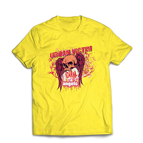lepni.me Men's T-Shirt Skull Urban Victim, City of Lost Angels (X-Large Yellow Multi -