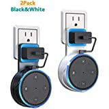 Echo Dot Wall Mount Case Holder Stand for 2nd Generation,YISEA Space-Saving Solution for Home Speaker Without Mess Wires or Screws,Short Charging Cable Included (2 Pack) - Black&White