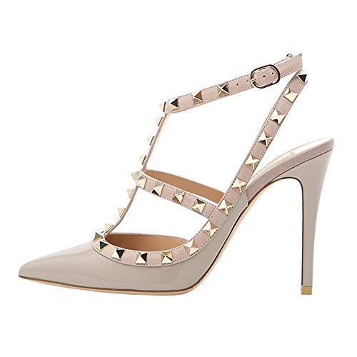 June in Love Womens Heels Strappy Sandals Rivets Studs Middle Thin Heels Sexy Sandals Apricot US8.5