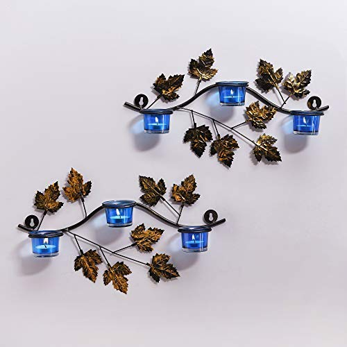 (tecmac Maple Leaf Wall Mount with 3 Votive Blue, Wall Candle Holder and Free Tealight Candles)
