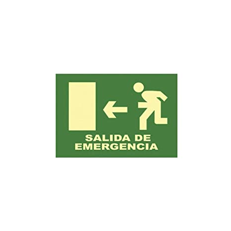 CARTEL SEÑAL SALIDA DE EMERGENCIA (IZ) 32X16CM: Amazon.es ...