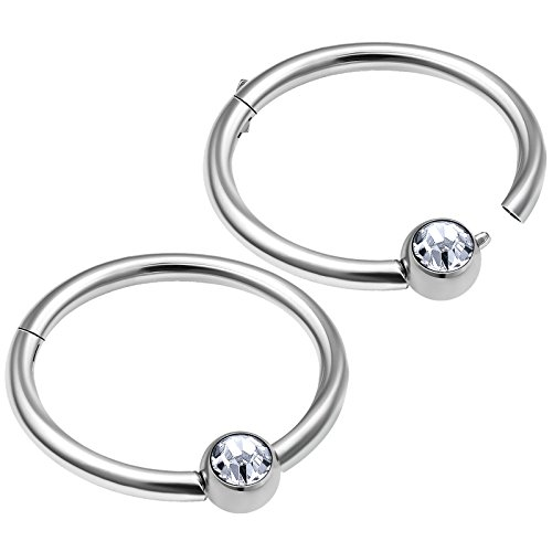 - bodyjewellery 2pcs 16g hinged captive bead ring clicker cartilage helix nose septum earring hoop eyebrow tragus rook lip D4QCF - 12mm
