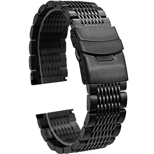 20mm Black Mesh Watch Band Matte Finish Brushed Stainless Steel Watch Bracelet Fold-Over Clasp Metal Watch Straps (Mens Metal Round Watches)