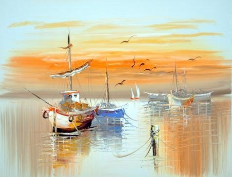 Oil Painting 'Wall Boats,Sea Gulls And Sun' Printing On Perfect Effect Canvas , 18x24 Inch / 46x60 Cm ,the Best Nursery Artwork And Home Decoration And Gifts Is This Beautiful Art Decorative Canvas Prints
