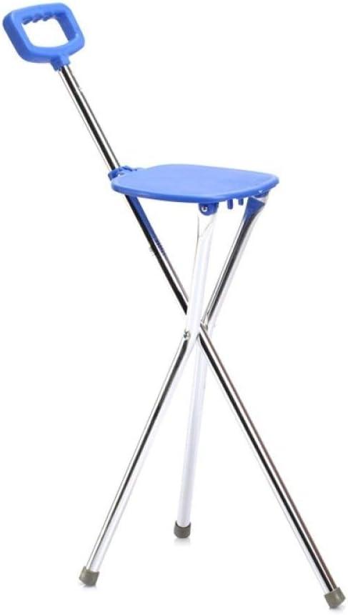 QIONGS Silla de bastón,Taburete Plegable para Bastones,heces Walker trípode caña Bastón Médico Bastón con Asiento Viejo Bastón, Azul, 87cm