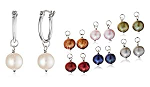 Interchangeable Freshwater Cultured Dyed Color Pearl Earrings Set, Set of Seven