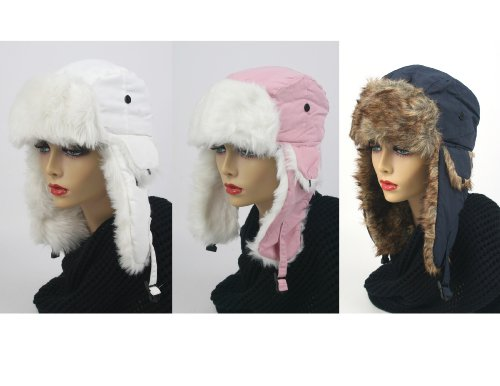Pop Fashionwear 3 Pcs Women's Trapper Winter Ear Flap Hat P136 (S6-White-Pink-Navy)