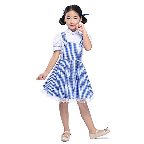Girls Gingham Dresses Plaid Strappy Skirts Dance Fluffy Tutu Kids Princess Dress Fairy Tale Costume Halloween Cosplay (Blue Gingham, L fit Height 45