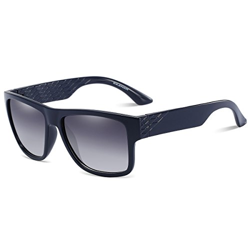 CAXMAN Unisex's Floating Sunglasses Fashion Square Wayfarer Style Lightweight Unsinkable for Men Women, Surfing, Boating, and Water Activities, Deep Navy Blue Frame and Gradient Grey - Matrix Sunglasses From The