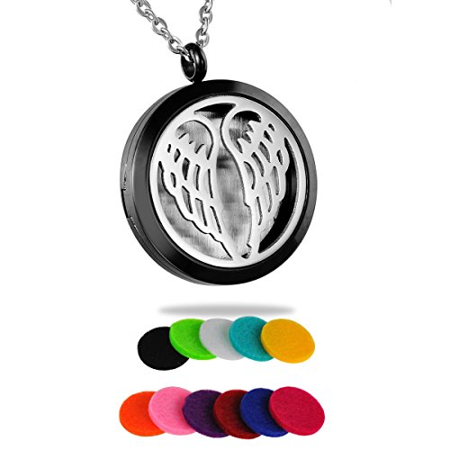 (HooAMI Aromatherapy Essential Oil Diffuser Necklace - Angel Wing Round Silver Black Locket Pendant)