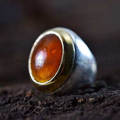 (Baltic Amber Silver Ring Amber Two tone Ring Gemstone Oval Cab Ring Jewelry Baltic Amber Unisex Party Cocktail Gift Ring Men's Heavy Ring )