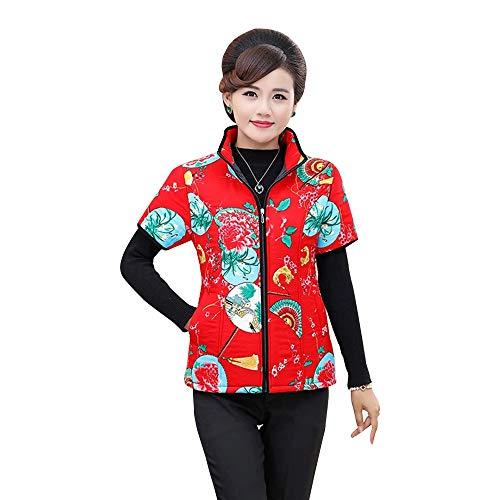 前方へテクトニックめったにBOZEVON 女性 秋、冬 ベスト - 暖かい コットン ミッドスリーブ ベスト コート ジャケットジップ 花の アウターウェア ポケット付き 大きいサイズ XL-5XL