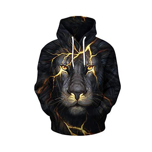 Skyyeox Men's Gaphic 3D Digital Printing Hooded Big Pocket Pullover Plus-Size Sweatshirts 12/14 Gold Lion
