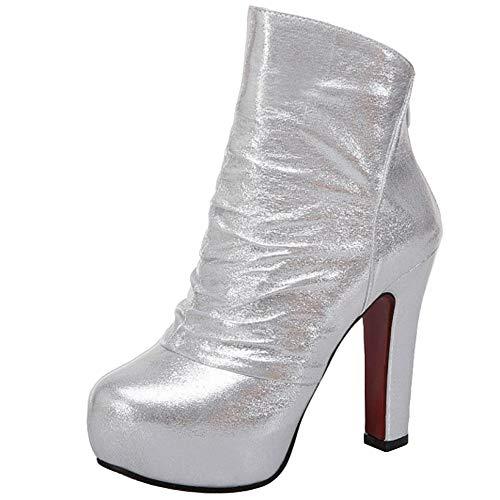 Melady Women Fashion Platform Ankle Boots Zipper Silver