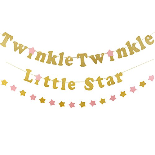Gold Twinkle Twinkle Little Star Banner with 1Pcs Sparkling Star Garland,Wedding Birthday Baby Shower Holiday Party Decorations Supplies