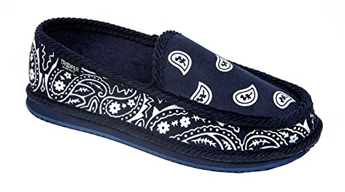 [Troooper America KS-002 Bandanna Paisley Slip-On House Shoe Slippers (10, NAVY / WHITE)] (Gangster Shoes)