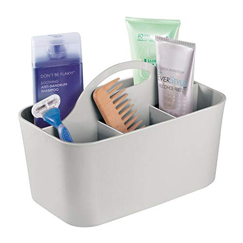 (mDesign Plastic Portable Storage Organizer Caddy Tote - Divided Basket Bin, Handle for Bathroom, Dorm Room - Holds Hand Soap, Body Wash, Shampoo, Conditioner, Lotion - Small - Light Gray)