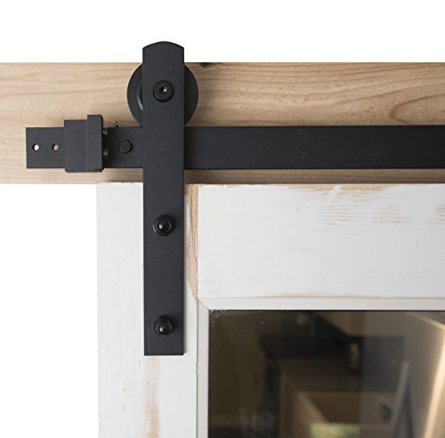 Barn Door Hardware 6ft Sliding Kit -Black Powder Coat, Straight Strap - Blacksmith Hardware BD1005 - Premium Quality by Blacksmith Hardware